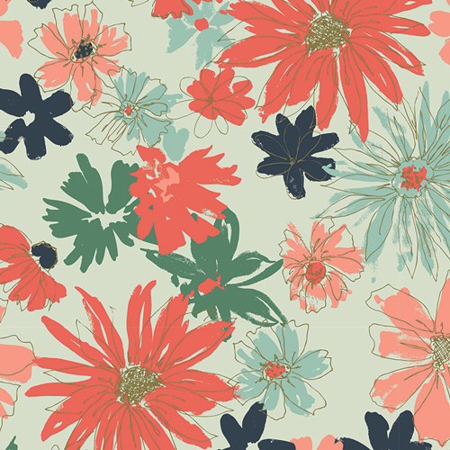 Fusion Coral Green Navy Floral Fusions
