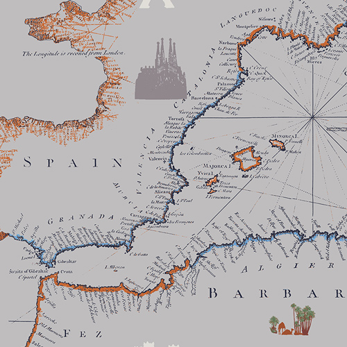 Fabric Cartographe from Mediterraneo