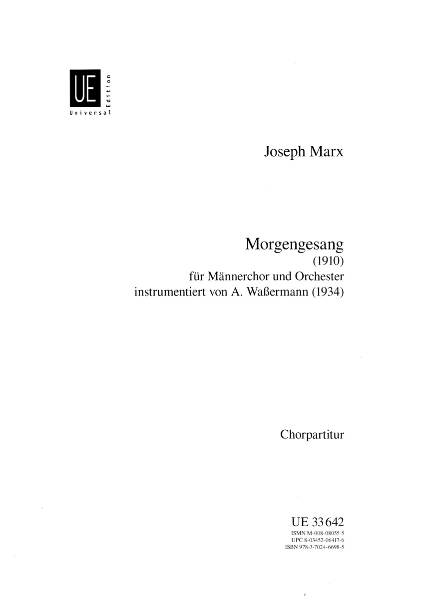 MORGENGESANG MARX (UE33642 ) (TTBB Secular )