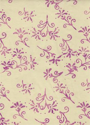 Lavender Floral on White Batik