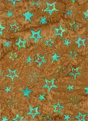 Batik Brown/Blue Stars