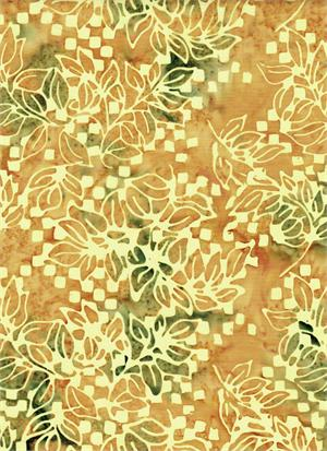 Batik Leaves Cream, Peach/Gray Green