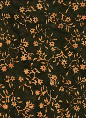 Batik Textiles  - Batik - Serendipity - 4522 - Dark with Orange floral