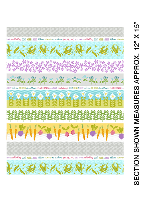 Stripes of Vegetables and Flowers:  Planted with Love by Cherry Guidry of Cherry Blossoms Quilting for Contempo Studio in association with Benartex