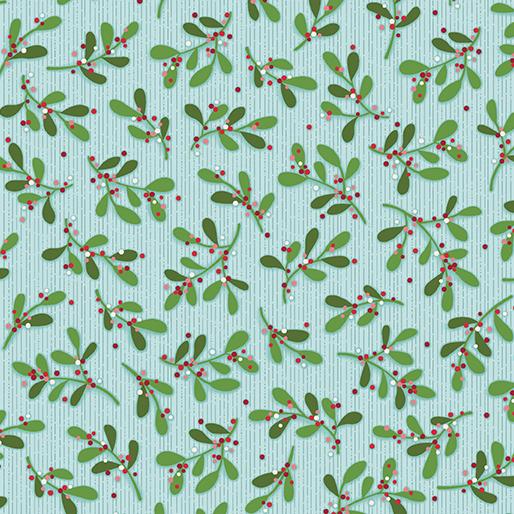Benartex Better Not Pout Mistletoe - Sky (0.9m remnant)