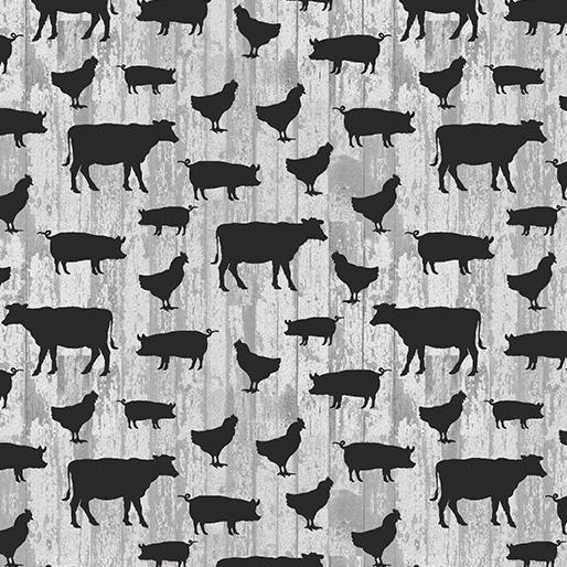 Small Farm Animals Light Gray
