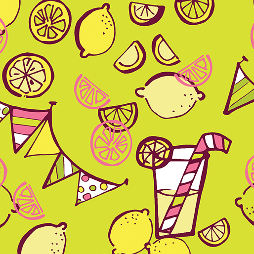 Lemons, Limes, Lemonade, and Banners on Lime:  Lemon Squeezy by Holly Heigeson for Benartex