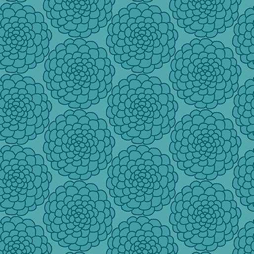 01820 84 Marigold Teal Mabon for Contempo Studio. 100% cotton 43 wide