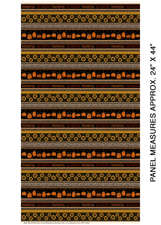 1836 77 Welcome Fall Stripe Espreso Multi Rustic Fall