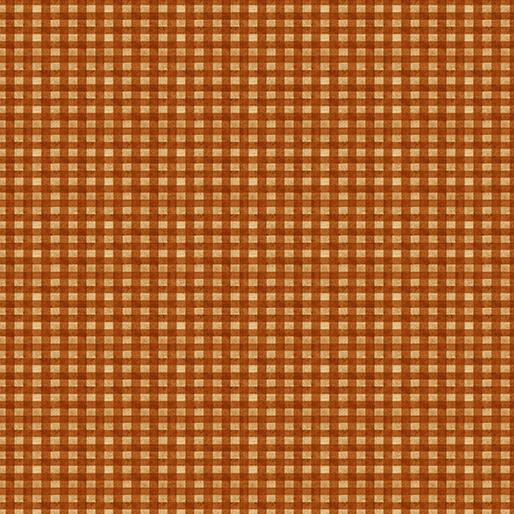 Rustic Fall - Fall Gingham, Orange - by Benartex