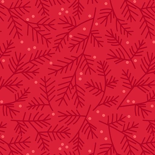 Benartex Tea Toweling Pine Bough From Art to Heart/Nancy Halvorsen 20 Wide 1869-10 Red