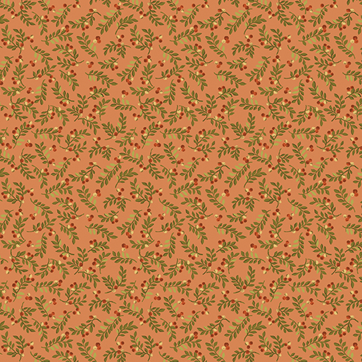 Fabric Sale - Leaves and Berries Salmon