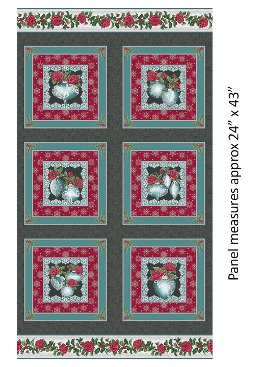 Fest.Lace Ornament Panel CharTeal