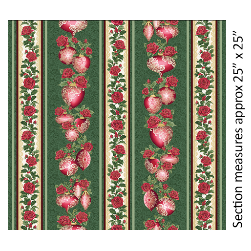 Festive Lace Stripe Green/Red 2617M 44