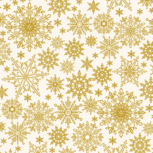 BENARTEX A FESTIVE SEASON CREAM BACK WITH METALLIC GOLD SNOWFLAKES 2650M 07