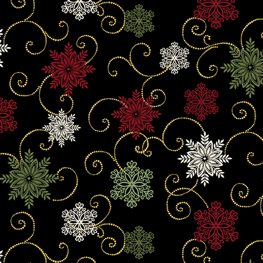 A FESTIVE SEASON Snow Fall Swirl Black