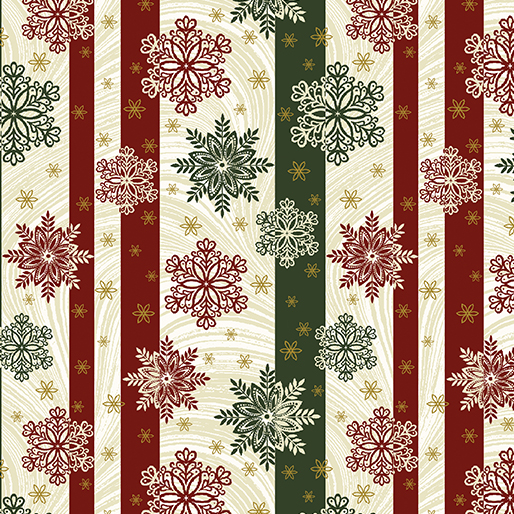 A Festive Season 2 (2656M-42) Snowflake Stripe Green/Cream