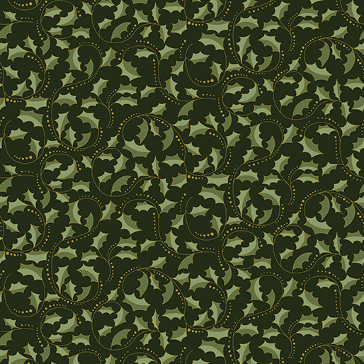 Festive Chickadees - Golden Scroll - Dark Green