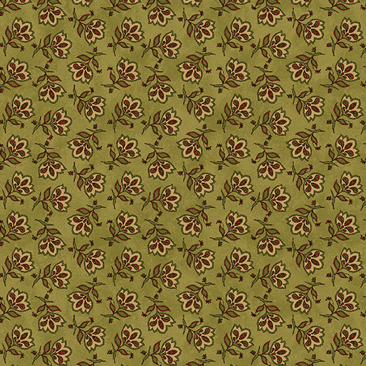 Benartex - Tossed Jacobean Flower Green 3114-43