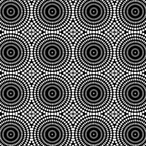 White and Gray Mosaic Dot Circles on Black:  Geo Pop by Christa Watson of ChristaQuilts for Contempo Studio in association with Benartex