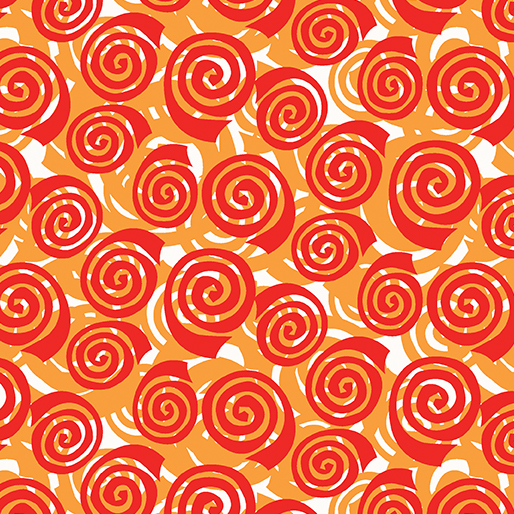 Benartex Abstract Garden Blooming Roses Orange