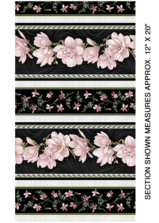 Magnolia Blooms Stripe - Coral/Black