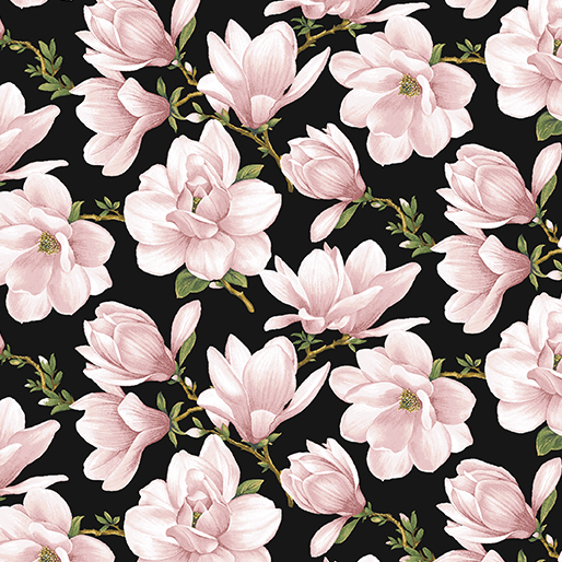 Magnolia Blooms Allover Coral and Black