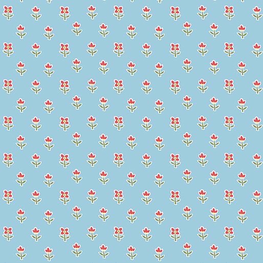 BENARTEX SIMPLY CHIC SKY BLUE WITH RED FLOWER 03816 05