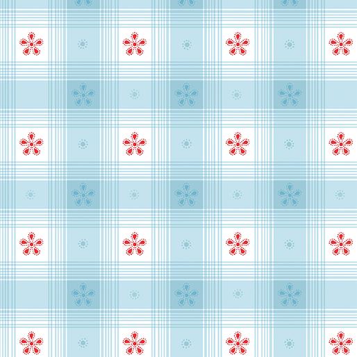 BENARTEX SIMPLY CHIC SKY BLUE CHECK TOILE 03818 05