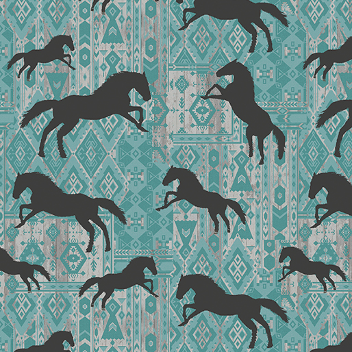 Horses Silhouette - Turquoise - Born To Run