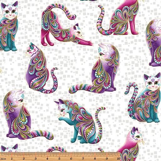 Artist-O-Cats White/Multi - Cat-i-Tude