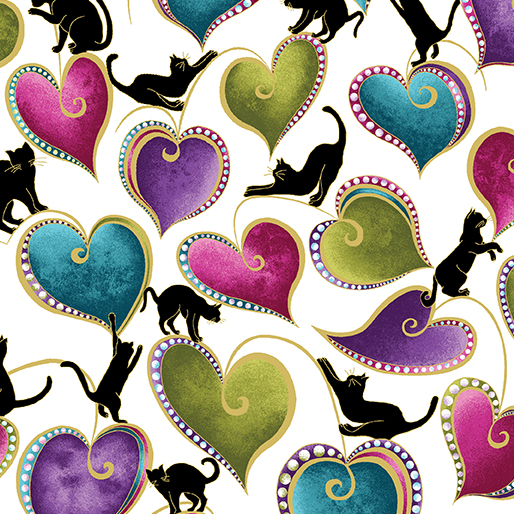 Hearts and Cats White/Multi