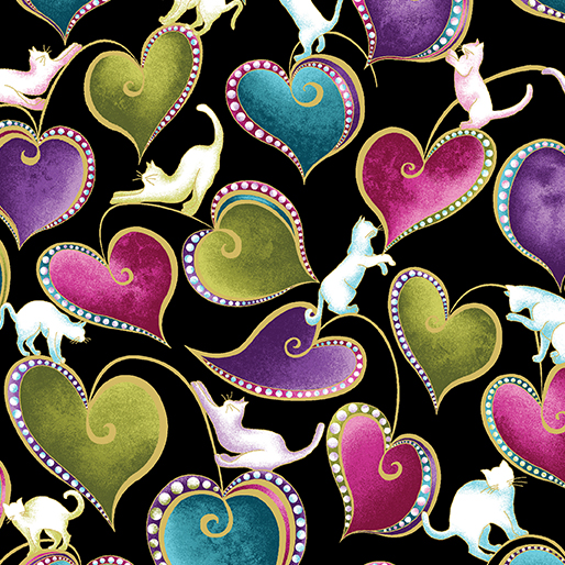Hearts and Cats Black/Multi