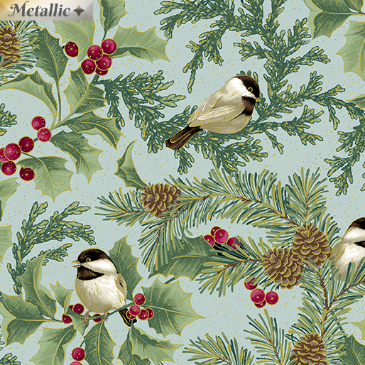 Festive Chickadees Chickadee & Holly Allover SeaMist
