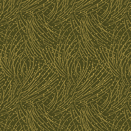 AUTUMN LEAVES DARK PINE GREEN W/ GOLD PINE NEEDLES 4745M-44