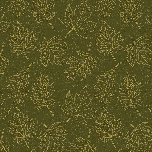 Leaf Outline Gold Dark Green