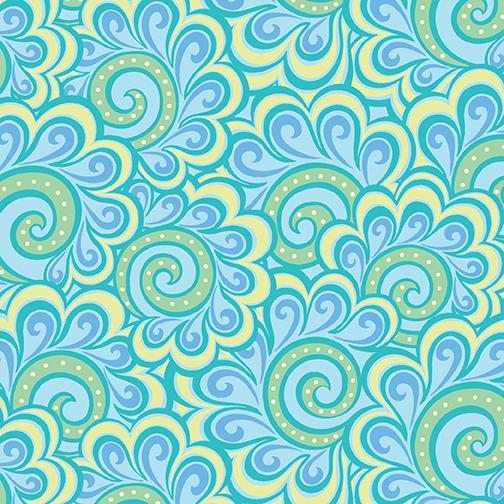 Free Motion Fantasy Swirl Feather Aqua