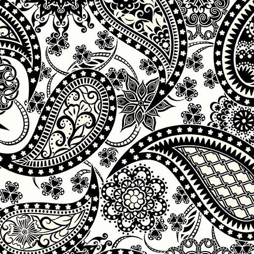 Wide Paisley White/Black