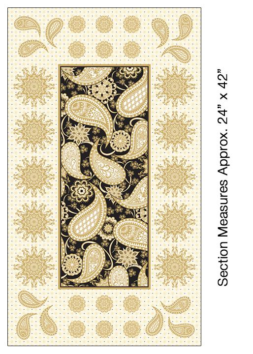 Benartex Jubilee Embroidery Panel Black