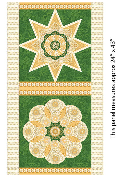 Jubilee Holiday Pillow Panel Blocks in Green and Gold by Amanda Murphy for Benartex