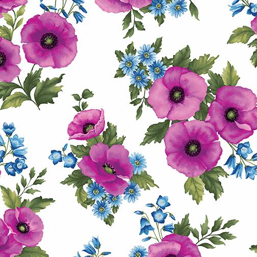 Midnight Poppy Toss Wht/Fuchsia