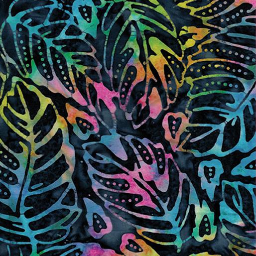 Forest Leaf Blue Multi Batik 6625-59