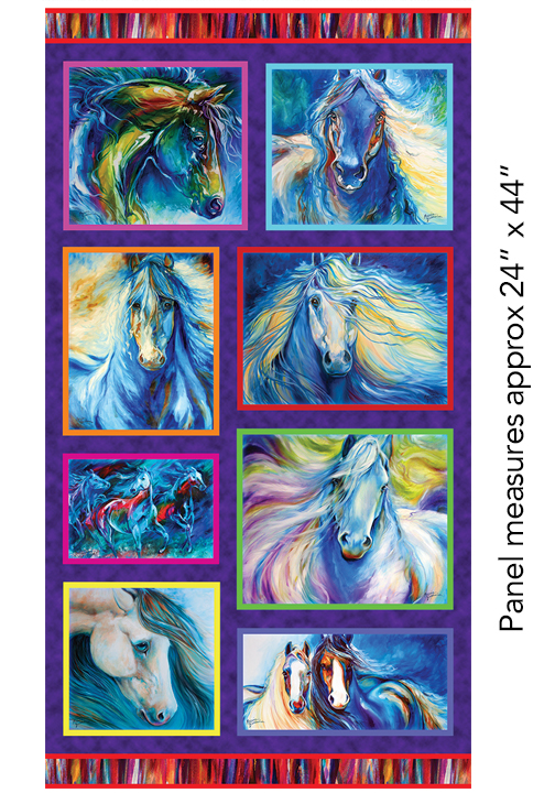 Benartex - Painted Horses - 8 Block Panel/Multi - 6661-99  -  W-11