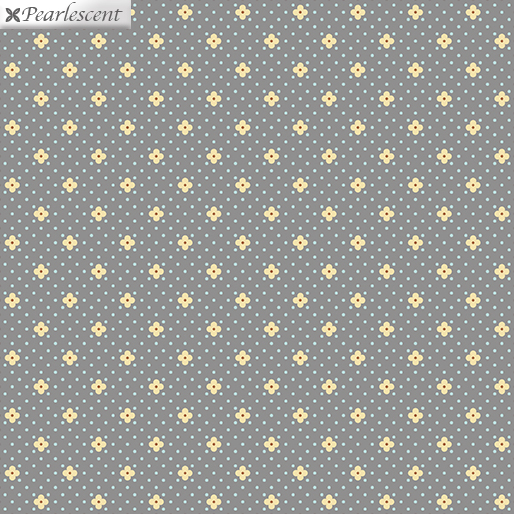 Pearlized Dots and Yellow Flower Heads on Gray:  Street Lights - Bonnie Lane by Pat Sloan for Benartex