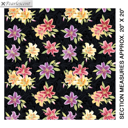 Benartex Lilyanne 6722P-99 Small Lily Allover Black/Multi Pearl