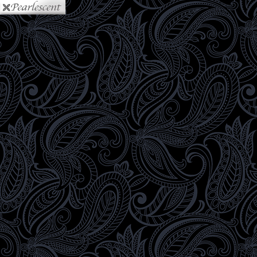 Fabric Benartex Pais Lily Tonal Black