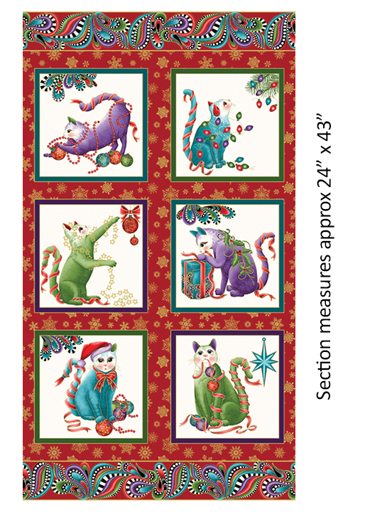Cat-I-tude Christmas Panel - Red