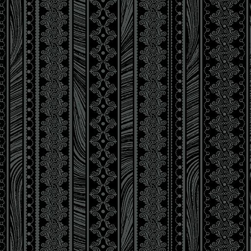 Magnificent Blooms Nouveau Stripe Black - 6786-12