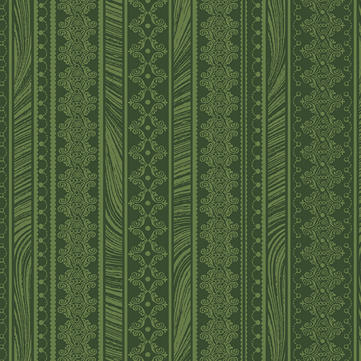 Magnificent Blooms Nouveau Stripe Green - 6786-44