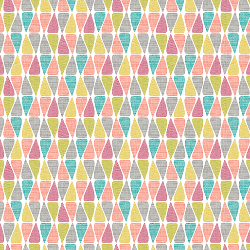 Triangle Tiles in Yellow, Gray, Pink, Peach, Lime, and Turquoise on White:  Choose to Shine by Cherry Guidry of Cherry Blossoms Quilting Studio for Contempo Studio in association with Benartex